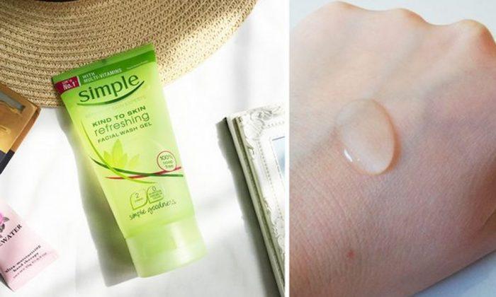 Sữa rửa mặt Simple Kind To Skin Refreshing Facial Wash Gel có dạng gel trong, ít tạo bọt (Ảnh: Internet)