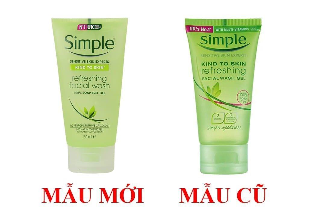 Tham khảo mẫu mới và mẫu cũ của sữa rửa mặt Simple Kind To Skin Refreshing Facial Wash Gel (Ảnh: Internet)