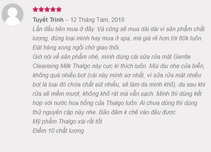 Review Thalgo Gentle Cleansing Milk từ khách hàng