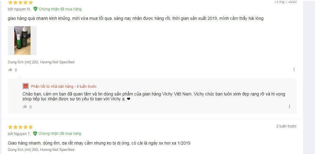 Review đánh giá của khách hàng sử dụng sản phẩm làm sạch sâu da của Vichy tại Lazada. (Ảnh: BlogAnChoi)