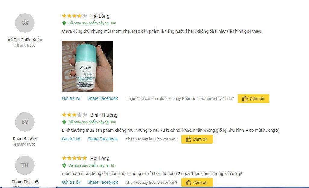 Review đánh giá của khách hàng sử dụng lăn khử mùi vùng da cánh Vichy tại Tiki. (Ảnh: BlogAnChoi)