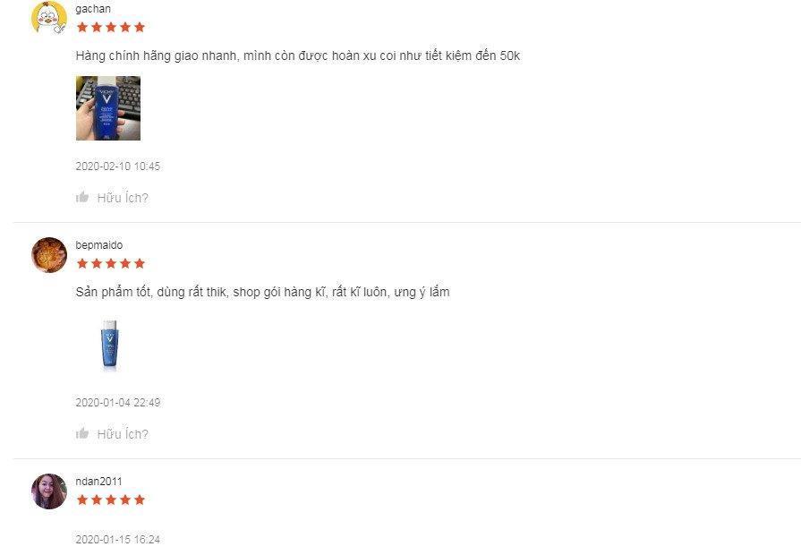 Review đánh giá của khách hàng sử dụng nước hoa hồng cân bằng Vichy tại Shopee. (Ảnh: BlogAnChoi)
