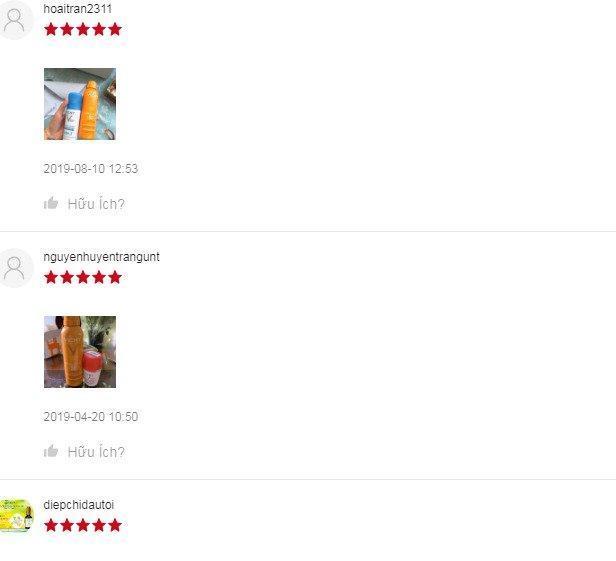 Review đánh giá của khách hàng xịt chống nắng toàn thân Vichy tại Shopee. (Ảnh: BlogAnChoi)
