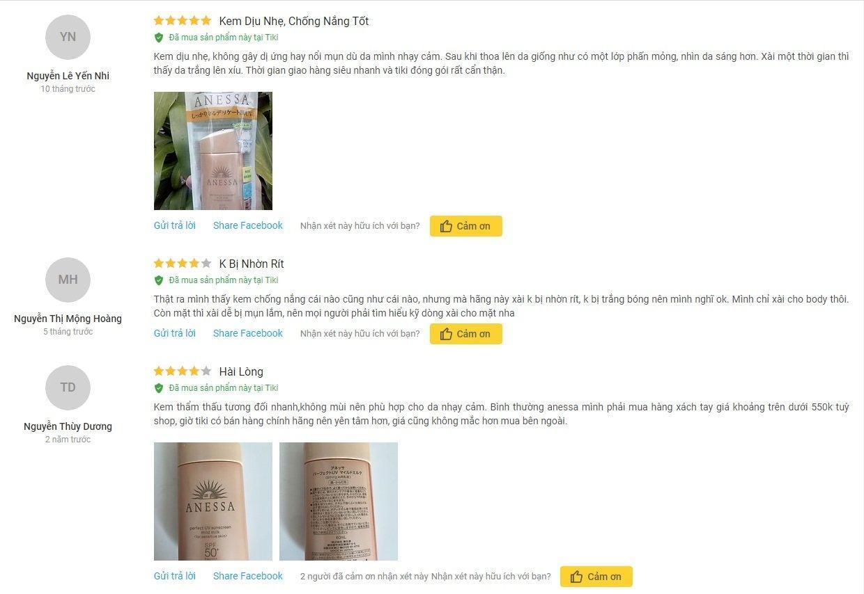 Đánh giá của khách hàng từ Tiki (ảnh: BlogAnChoi)