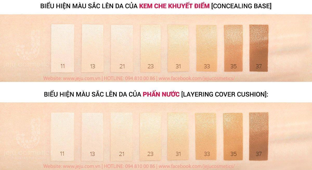 Bảng màu cushion và kem che khuyết điểm Laneige Layering Cover Cushion And Concealing Base (Ảnh: Internet)