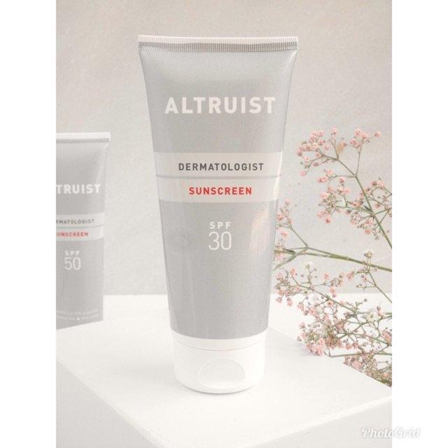 Thiết kế, bao bì của kem chống nắng Altruist Dermatologist Sunscreen SPF30. (Nguồn: Internet.)