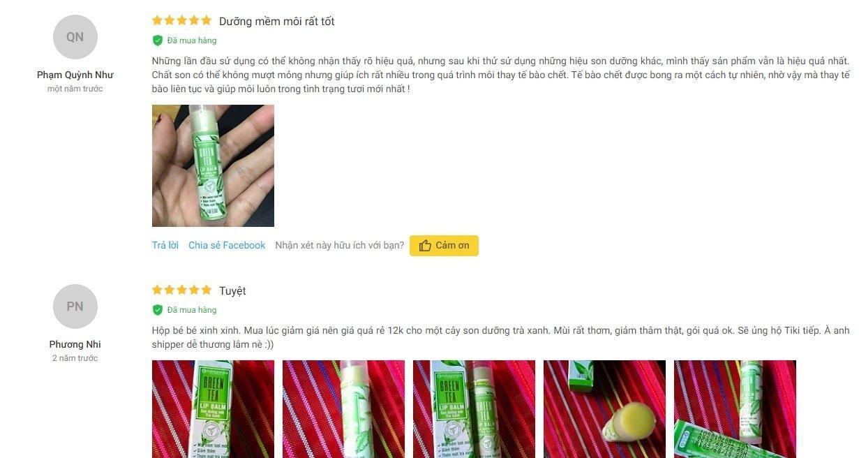 Đánh gia son dưỡng trà xanh Milaganics từ khách hàng trên Tiki ( Nguồn ảnh: BlogAnChoi)
