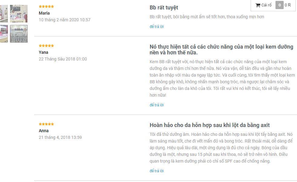 Đánh giá yêu thích của khách hàng trên trang Histolabprof.ru (ảnh: BlogAnChoi).
