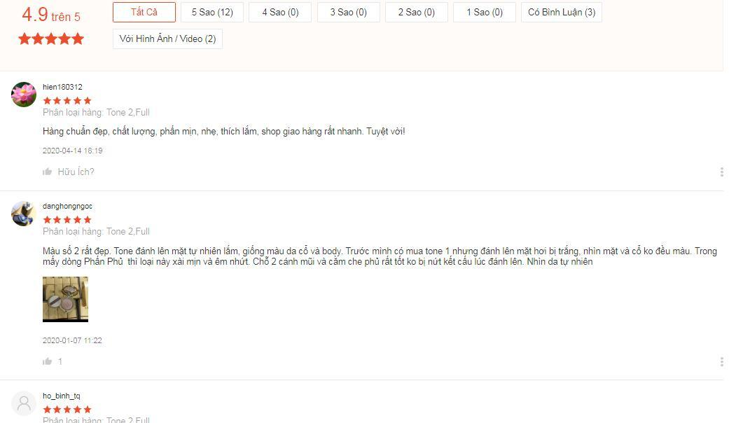 Đánh giá tích cực của khách hàng trên trang Shopee (ảnh: BlogAnChoi).