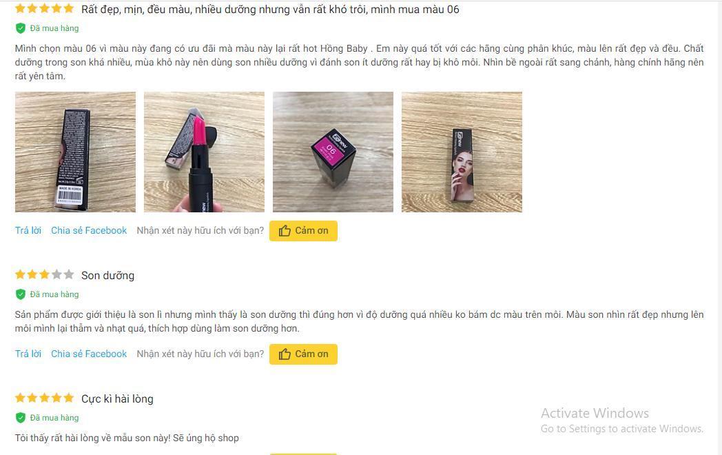 Những đánh giá tích cực của khách hàng trên trang Tiki (ảnh: BlogAnChoi).