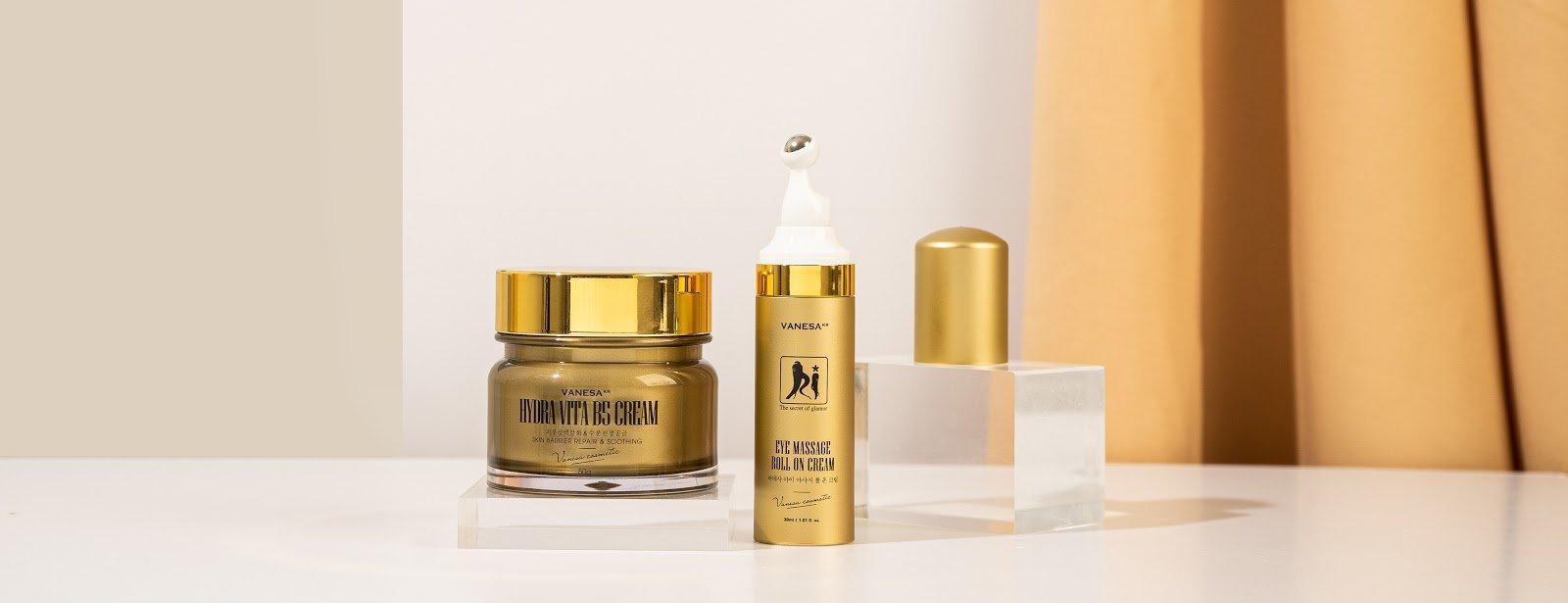 Bao bì sang trọng và tinh tế của bộ đôi sản phẩm chống lão hoá da mặt và vùng mắt của Ki Cosmetics. (Ảnh: Internet)