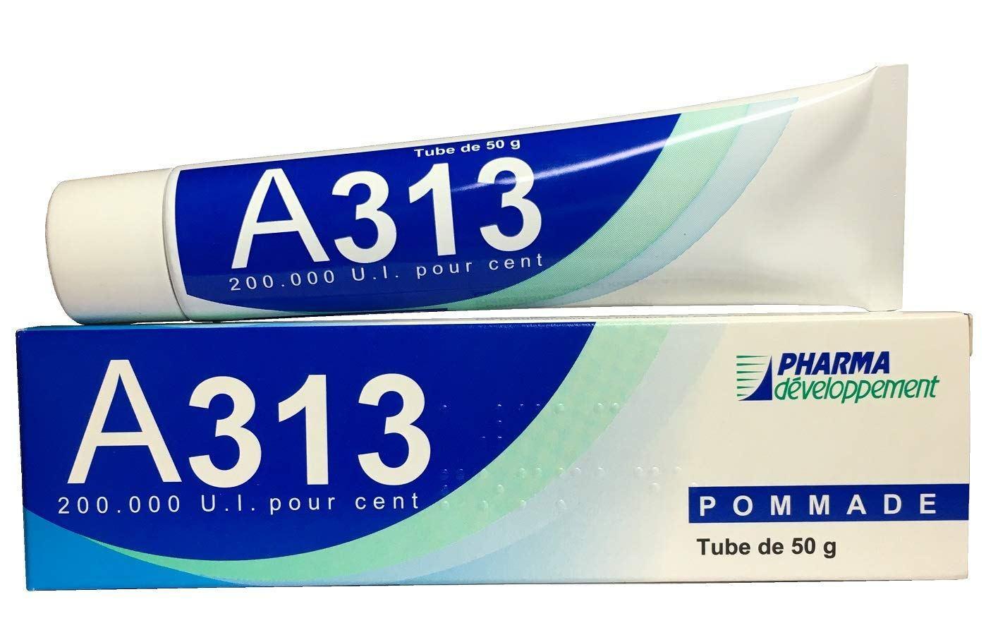 Retinol A313 Pommade có thiết kế dạng tuýp đặc trưng của các sản phẩm dược phẩm. (nguồn: Internet)