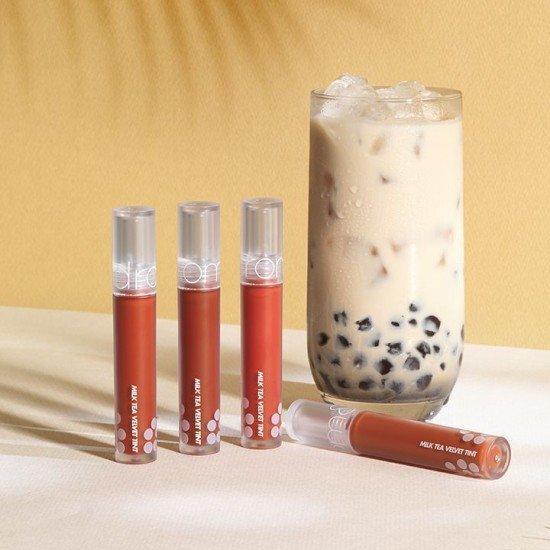 """Romand Milk Tea Velvet Tint có thiết kế xinh xắn như một thỏi son """"trà sữa"""". (nguồn: Internet)"""