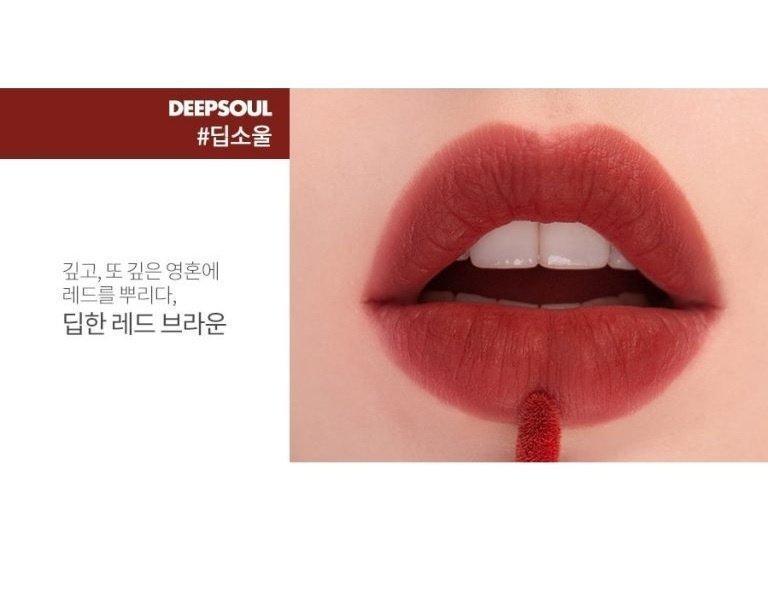 Deepsoul với sắc đỏ nâu trầm cuốn hút là màu son được yêu thích nhất của dòng son Romand Zero Velvet Tint. (nguồn: Internet)