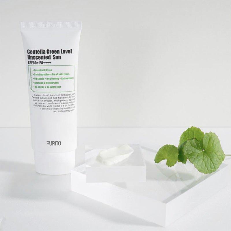 Kem chống nắng Purito Centella Green Level Unscented Sun có thành phần chính là chiết xuất rau má. (nguồn: Internet)