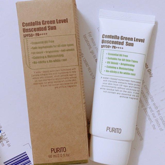 Kem chống nắng Purito Centella Green Level Unscented Sun có bao bì dễ tái chế, đơn giản. (nguồn: Internet)