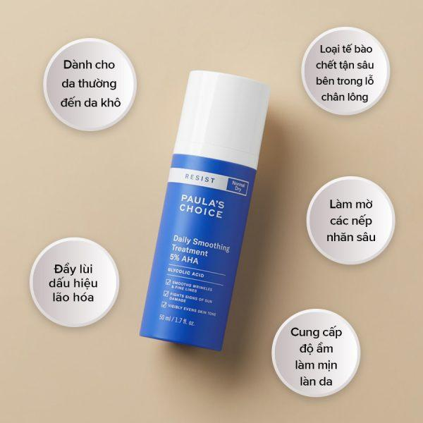 Cong dụng của Resist Daily Smoothing Treatment With 5% AHA (Nguồn: Internet)