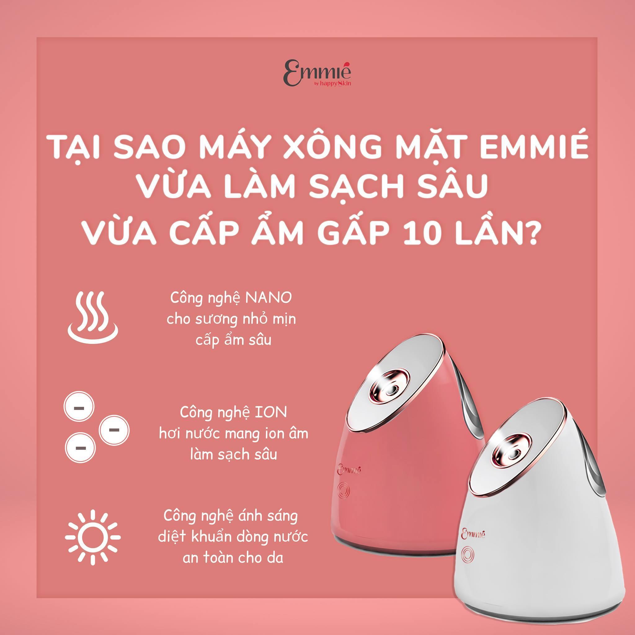 Công dụng ưu việt của máy xông mặt EMMIÉ Nano Ionic Facial Steamer & Humidifier (Ảnh: Internet).