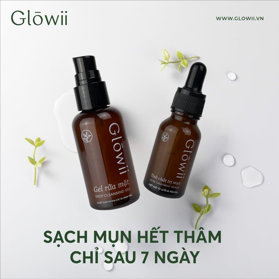 Bao bì bộ sản phẩm trị mụn Glowii có thiết kế nhỏ xinh, màu sắc nhã nhặn, tinh tế (Nguồn: Internet).