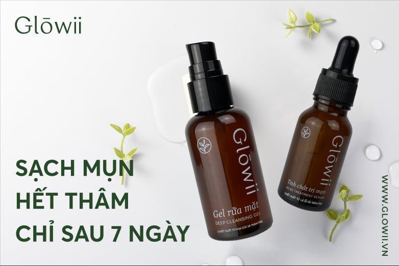 Bộ sản phẩm trị mụn Glowii giúp làm sạch lỗ chân lông cũng như gom cồi mụn nhanh chóng, hiệu quả (Nguồn: Internet).