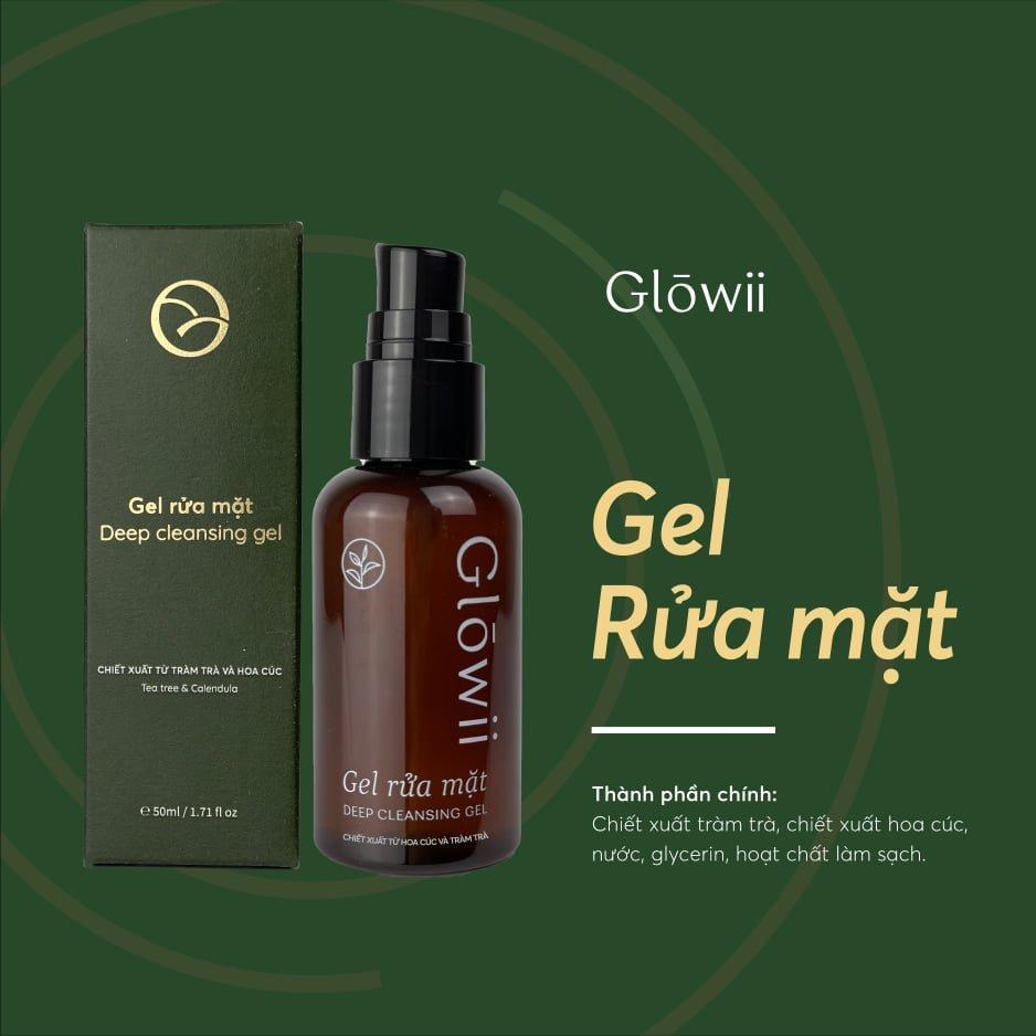 Gel rửa mặt Glowii Deep Cleansing Gel có chứa chiết xuất tràm trà và hoa cúc (Nguồn: Internet).